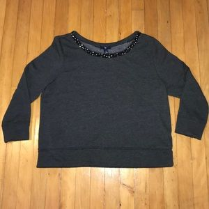 GAP Cropped Sweater with Beaded Collar